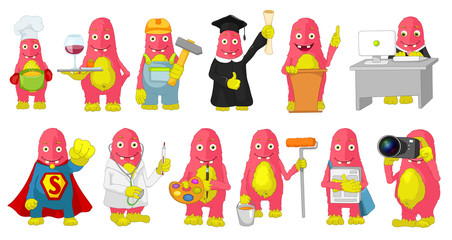 Vector set of cute pink monsters cartoon illustrations.