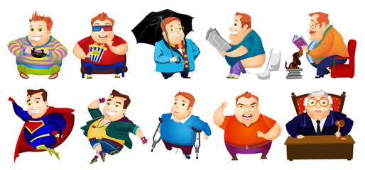 Vector set of cheerful fat man illustrations.