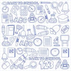 Vector doodle set of education symbols Back to school
