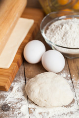 Cooking baking. Flour and dough. Delicious. Festive table.
