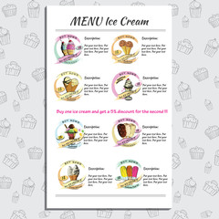 Set Ice Cream Menu for Cafe and Restaurant with price. Hand draw