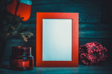 Frame and Christmas decoration. Toned photo