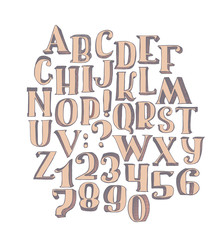 Large collection with handdrawn alphabet with letters sequence from A to Z and numbers sequence from 0 to 9. Vector illustration, bright, isolated on white background, hand drawn with brush in 3d