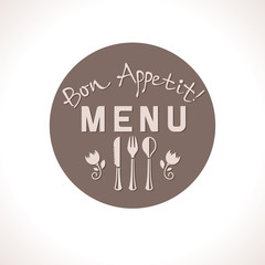 Bon Appetit! Round label menu design.