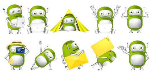 Vector set of green robots illustrations.