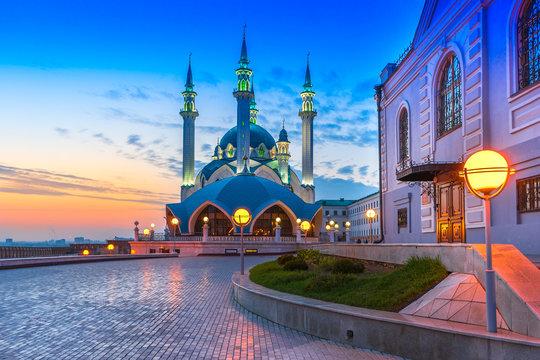 The Kul Sharif mosque in Kazan, Russia at sunset
