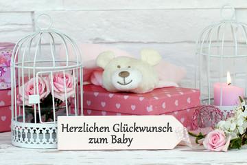 Fototapete - Glückwünsche zum Baby