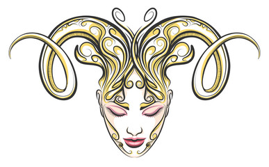 Girl with horns of a ram drawn in tattoo style