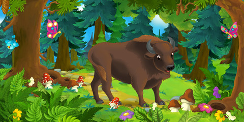 Cartoon scene with happy wild aurochs standing in the forest - illustration for children