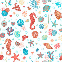 Underwater seamless pattern. Summer sea background. Colorful Vector illustration.