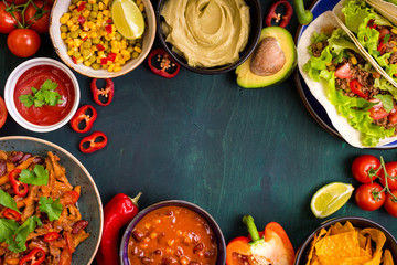 Mixed mexican food background