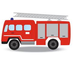 Firefighter emergency red fire truck