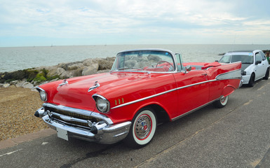 Classic Red convertible on show on Felixstowe seafront. Wall mural