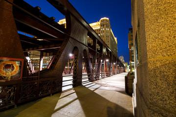 Wells Street drawbridge in Chicago at dusk