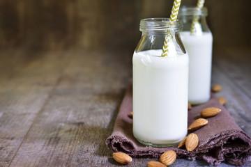 Two bottles of almond milk