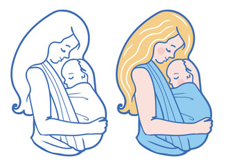 Vector Babywearing Illustration With Mother Hugging Baby In a Sling. Color and Drawing set. Simple lineart style.