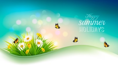 Happy summer holidays background with flowers, grass and butterf