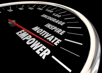 Empower Encourage Motivate Inspire Speedometer 3d Illustration