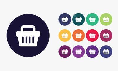 Shopping basket icon in various colours. Icon for shopping.Vecto