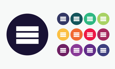 Icon in various colours. Menu icon .Vector set1.