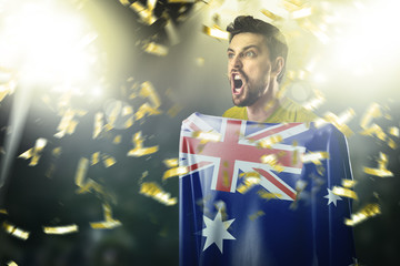 Athlete holding the flag of Australia