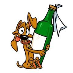Dog Dachshund bottle cartoon illustration isolated image animal character
