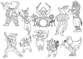 set of animal music band funny hand drawn design