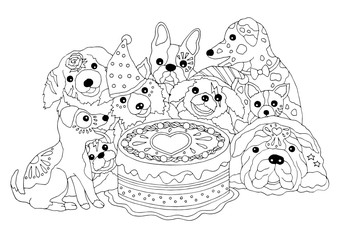 dogs happy birthday party with big cake, hand drawn vector