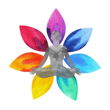 7 color of chakra symbol, lotus flower with human body