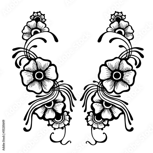 Henna Flowers Abstract Floral Vector Illustration It Can Be Used