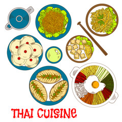 Vegetarian dinner of thai cuisine sketch icon