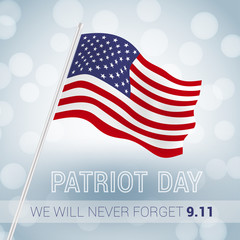 We will never forget 9.11 Patriot Day with USA flag illustration
