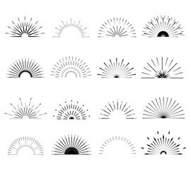 Retro Sun burst shapes. Vintage logo, labels, badges. Vector design elements isolated. Minimal black firework burst.