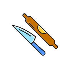 Knife and Rolling Pin Line Icon