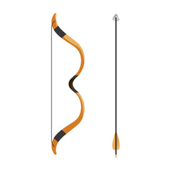 Bow and arrow icon in cartoon style isolated on white background. Hunting symbol