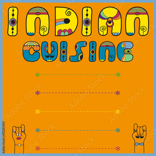 Indian cuisine artistic font menu card imagens e fotos for Artistic cuisine menu