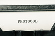 word protocol typed on typewriter