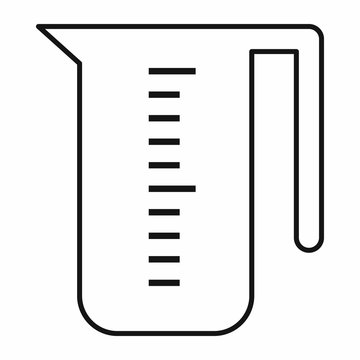 Measuring cup icon in outline style isolated vector illustration