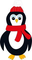 Pinguin mit Mütze / Schal im Comic-Look