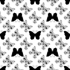 Seamless monochrome pattern of graphic vintage butterflies