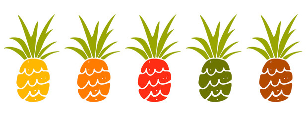 Pineapple hand drawn set isolated