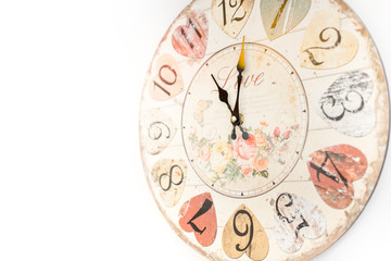 romantic love style wood clock vintage color tone