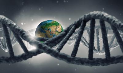 DNA molecule research . Mixed media