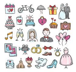 Wedding hand sketch icons. Cute hand drawn wedding symbols and objects: marriage, couple, love, bride, groom, honeymoon and other design elements