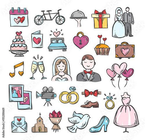 Wedding Hand Sketch Icons Cute Hand Drawn Wedding Symbols And