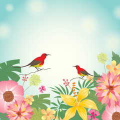 Illustration vector various flowers with couple birds in meadow background.