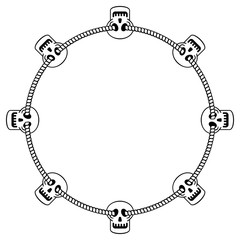 Round black and white frame with skull. Vector clip art.