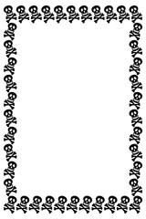 Black and white frame with skull. Vector clip art.