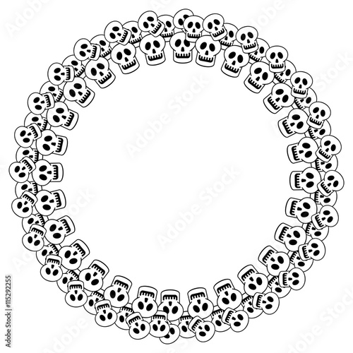 Round black and white frame with skull. Vector clip art.\