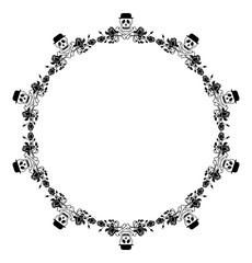 Round black and white frame with skull in hat and roses. Vector clip art.